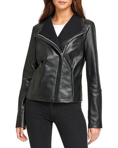 Черная кожаная длинная куртка с подкладкой Dkny