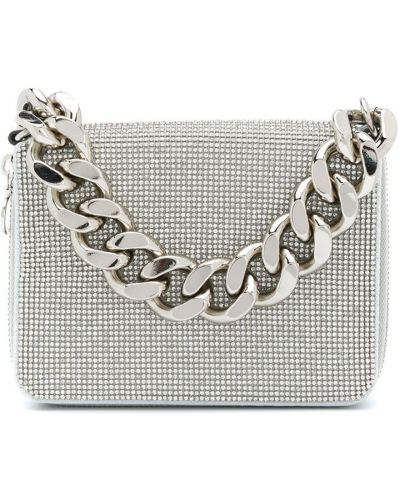 Кожаная белая сумка на цепочке с карманами Kara