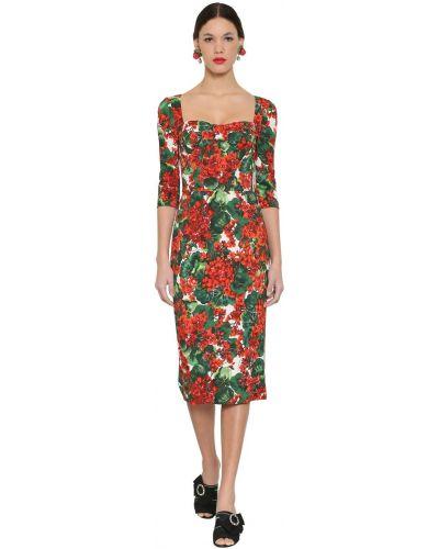 Приталенное платье миди с декольте на крючках Dolce & Gabbana