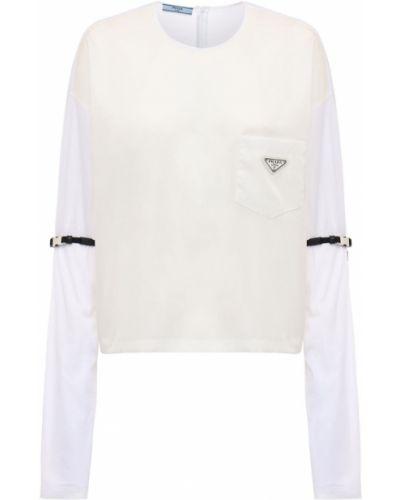 Хлопковая с рукавами рубашка с заплатками Prada