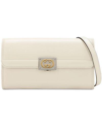Biały skórzana torebka prążkowany z prawdziwej skóry Gucci