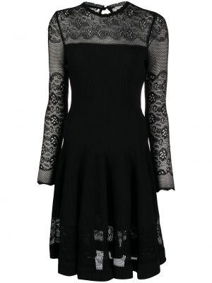 Шелковое кружевное черное платье мини Alexander Mcqueen