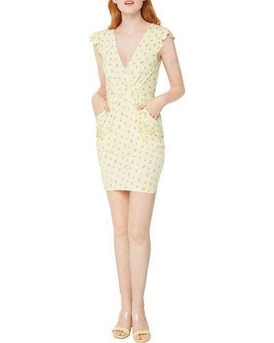 Желтое платье с драпировкой с V-образным вырезом Bcbgeneration