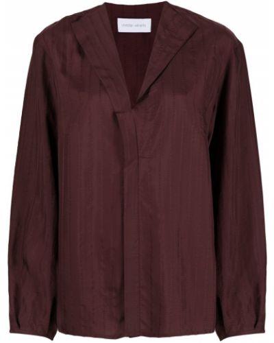 Шелковая красная прямая блузка с длинным рукавом с V-образным вырезом Christian Wijnants