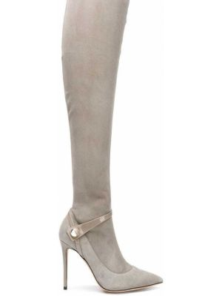 С ремешком серые замшевые сапоги на шпильке Giorgio Armani