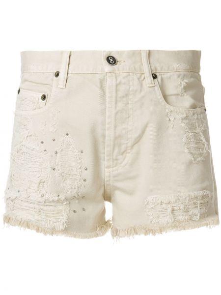 Белые джинсовые шорты со стразами Faith Connexion