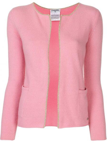 С рукавами прямой розовый вязаный кардиган с люрексом Chanel Pre-owned