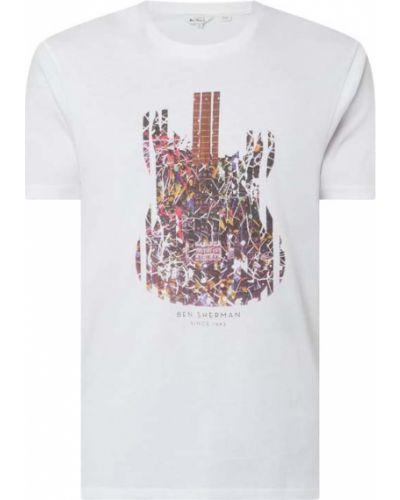 Biały t-shirt z printem bawełniany Ben Sherman