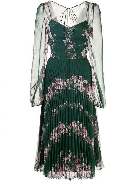 Плиссированное платье миди прозрачное с V-образным вырезом на молнии Marchesa Notte