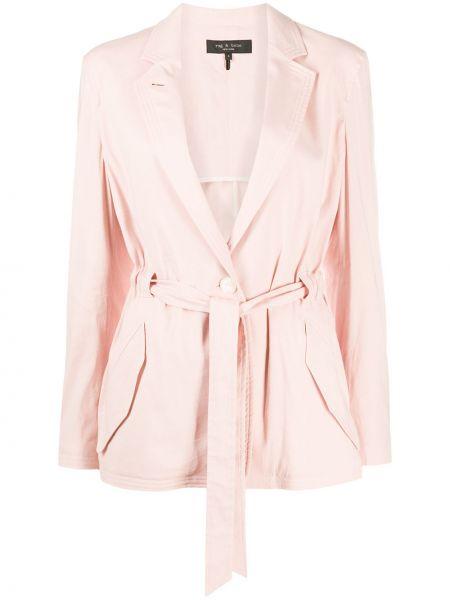 Розовый длинный пиджак с карманами из вискозы Rag & Bone