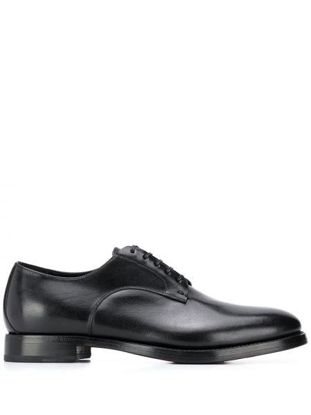 Кожаные черные туфли на шнуровке на плоской подошве на шнуровке Silvano Sassetti