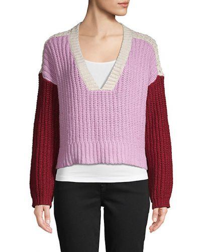 Хлопковый с рукавами длинный свитер с V-образным вырезом Wildfox