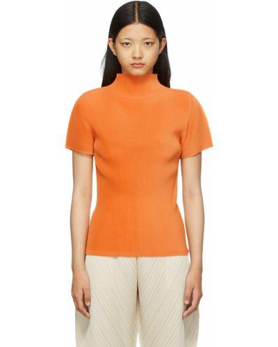 Pomarańczowa koszula krótki rękaw Pleats Please Issey Miyake