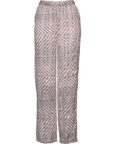 Свободные брюки серые с поясом Bonprix