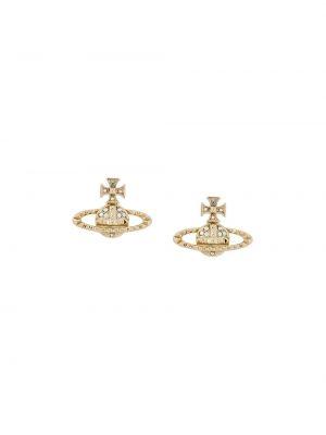 Золотистые серьги-гвоздики золотые с бабочкой Vivienne Westwood