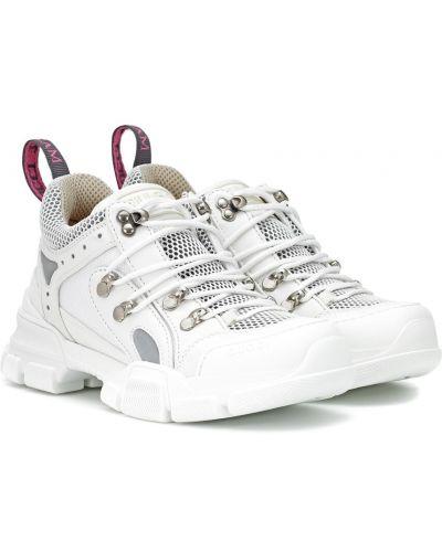 Кожаные кроссовки белый с подкладкой Gucci