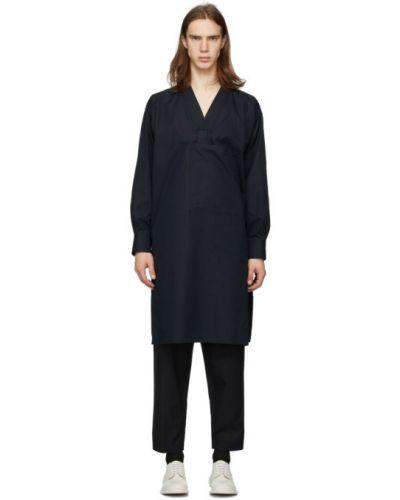 Bawełna bawełna z rękawami tunika z dekoltem w szpic Jil Sander