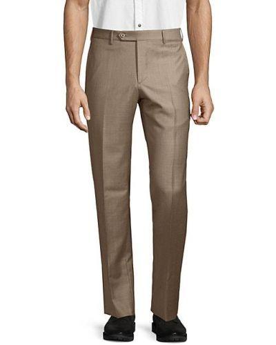 Шерстяные коричневые брюки с карманами Zanella