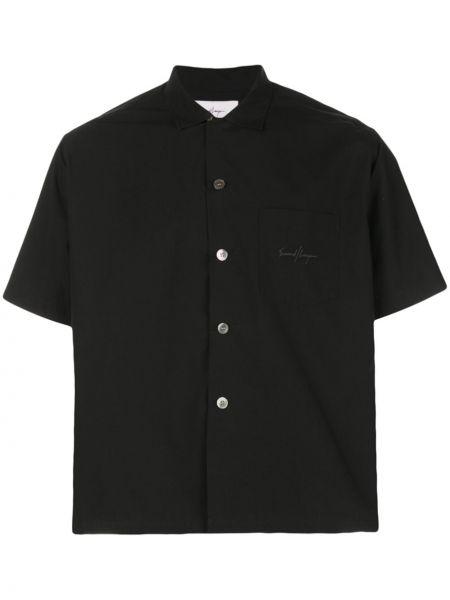 Классическая черная рубашка с короткими рукавами на пуговицах Second/layer