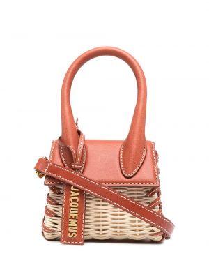 Красная плетеная кожаная маленькая сумка Jacquemus