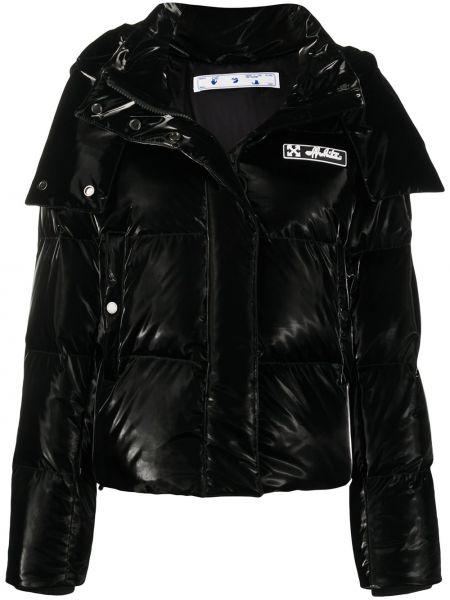Czarny długi płaszcz z kieszeniami z wiskozy z łatami Off-white