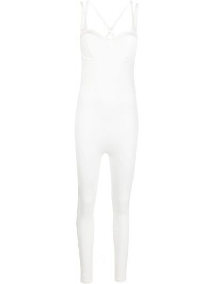 Biały kombinezon bawełniany z printem Adidas