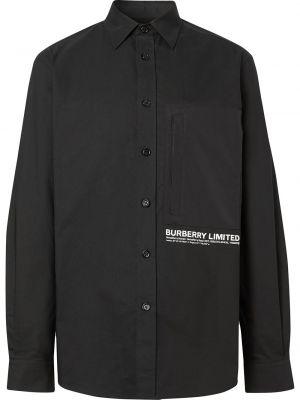 Czarny koszula z kołnierzem z kieszeniami z łatami Burberry
