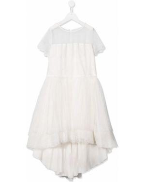 Sukienka mini asymetryczna tiulowa krótki rękaw Aletta