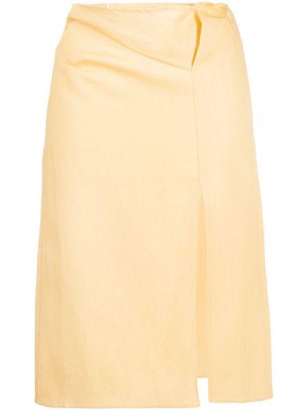 Льняная юбка миди - желтая Jacquemus