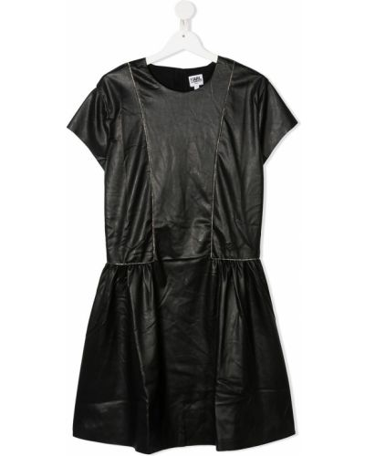 Черное платье мини с вышивкой с вырезом на молнии Karl Lagerfeld Kids