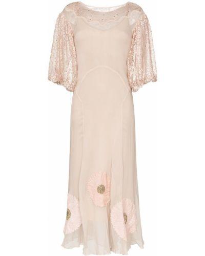 Розовое платье макси винтажное One Vintage