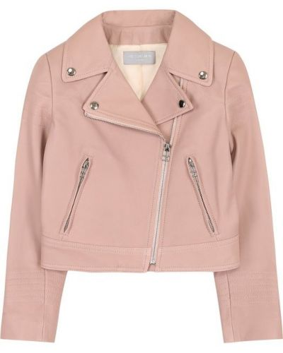 Кожаная куртка розовая на молнии Yves Salomon Enfant