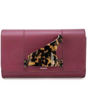 Кожаная красная кожаная сумка с карманами Perrin Paris