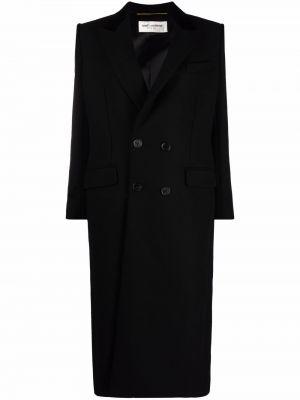 Черное пальто с манжетами Saint Laurent