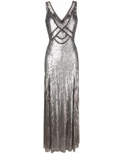 Sukienka rozkloszowana srebrna bez rękawów z dekoltem w serek Jenny Packham