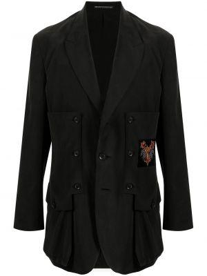 Czarna marynarka zapinane na guziki Yohji Yamamoto