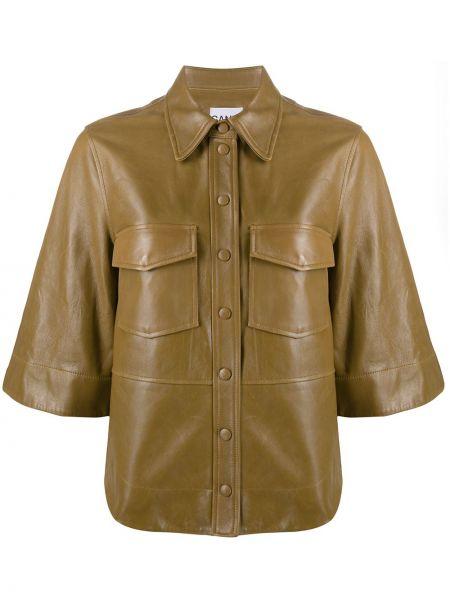 Рубашка с коротким рукавом - коричневая Ganni