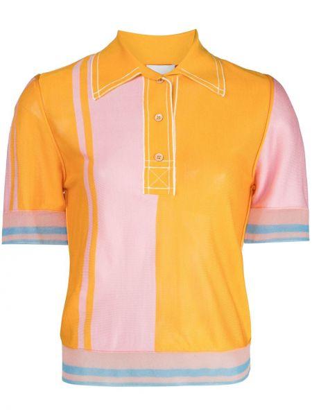 Оранжевый с рукавами шелковый топ с воротником I-am-chen