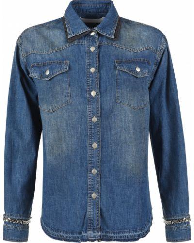 Хлопковая рубашка - синяя Victoria Beckham