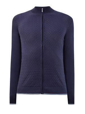 Синяя облегающая шелковая кардиган Bertolo Cashmere