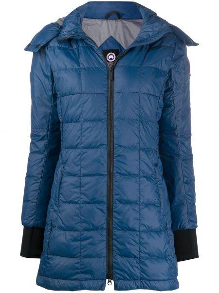 Niebieski płaszcz z kapturem z nylonu Canada Goose Kids