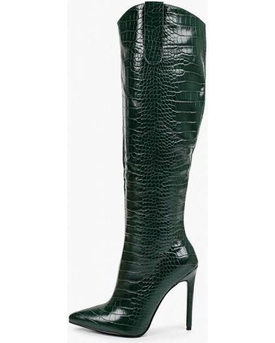 Зеленые кожаные сапоги Marco Bonne