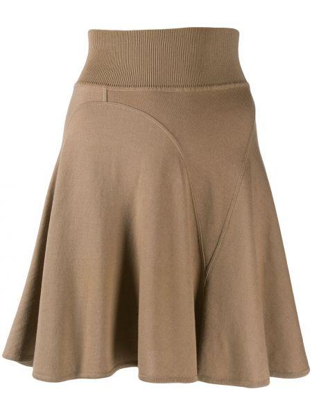 Плиссированная шерстяная коричневая юбка мини с поясом Alaïa Pre-owned