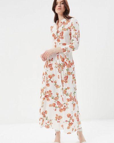 Белое платье с длинными рукавами Mango