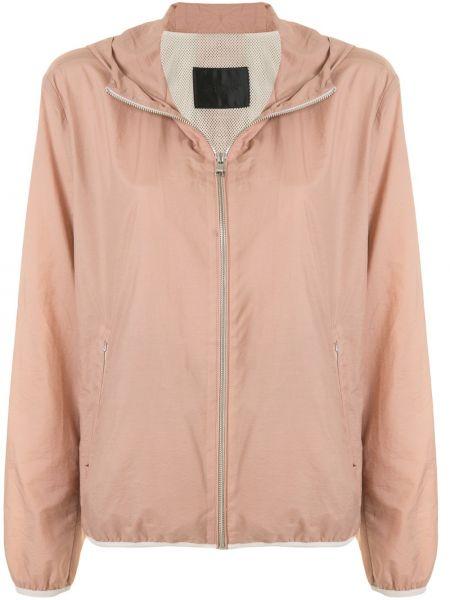 С рукавами хлопковая розовая облегченная длинная куртка D'urban