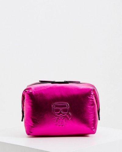 Розовая кожаная косметичка Karl Lagerfeld