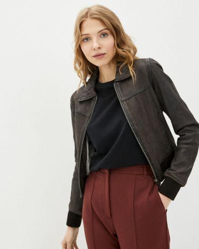 Коричневая кожаная куртка Oakwood