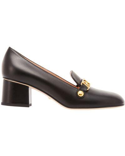 Туфли на каблуке кожаные круглым носом Gucci