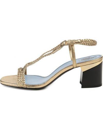 Босоножки на каблуке со стразами плетеные Lanvin