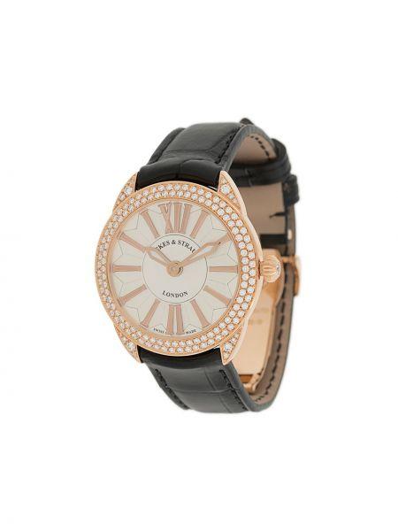 Czarny złoty zegarek na skórzanym pasku Backes & Strauss